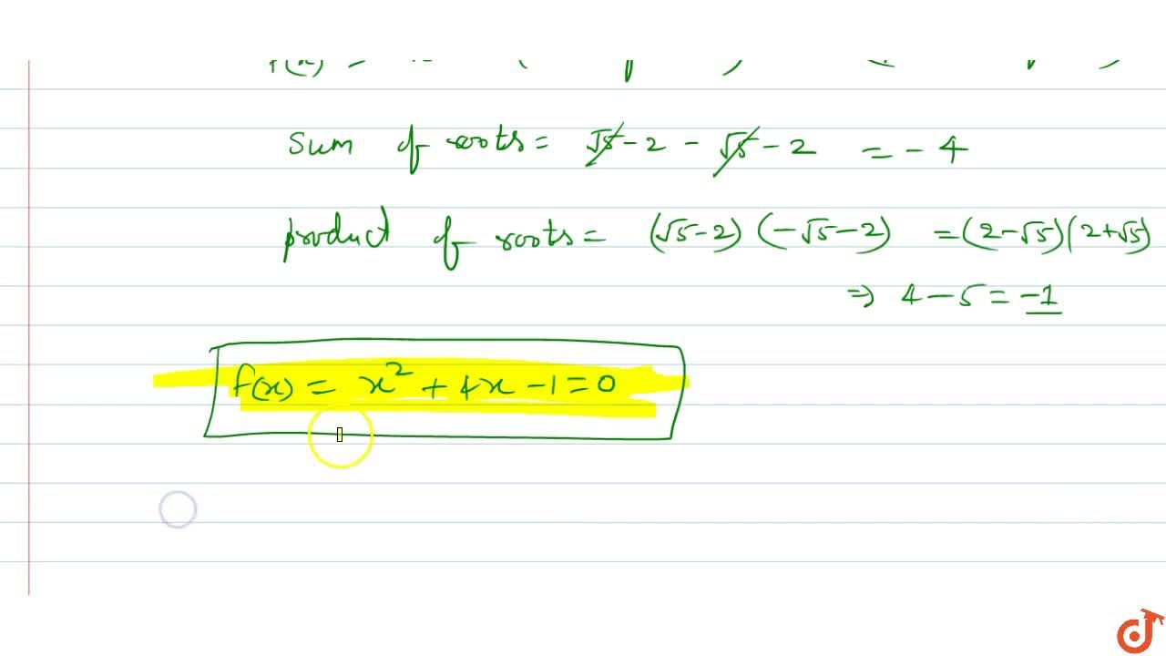 Find a quadratic polynomial with rational coefficients whose one zero is sqrt(5)-2