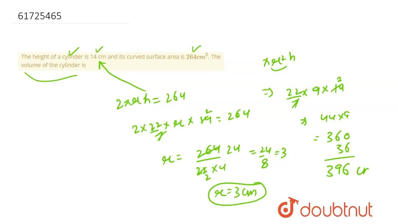 Solution for The height of a cylinder is 14 cm and its curved s