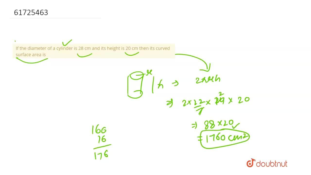 Solution for If the diameter of a cylinder is 28 cm and its hei