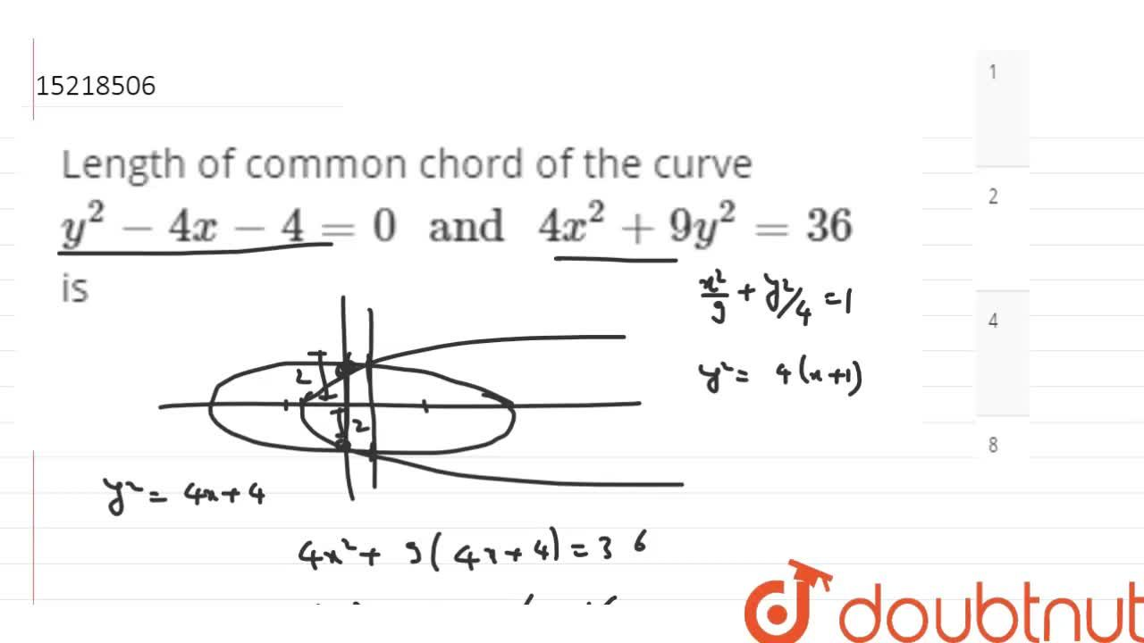 Solution for Length of common chord of the curve y^(2)-4x-4=0