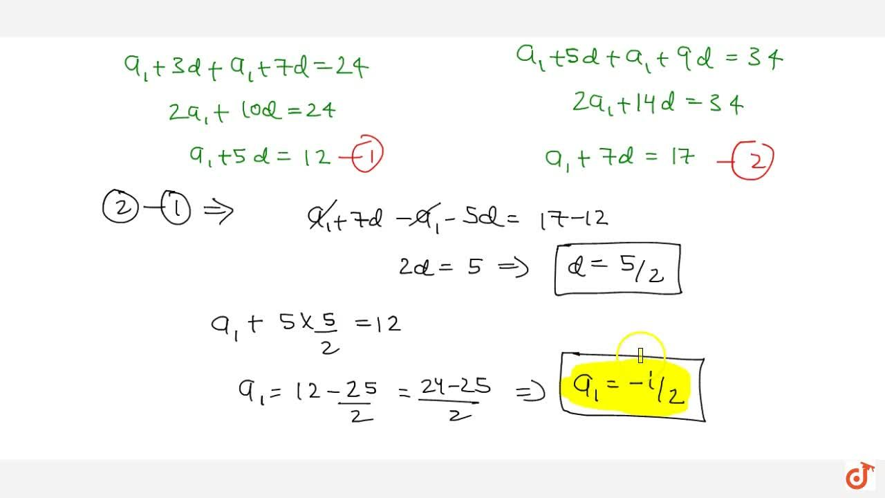 Solution for The sum of 4th and 8th terms of an A.P. is 24 and