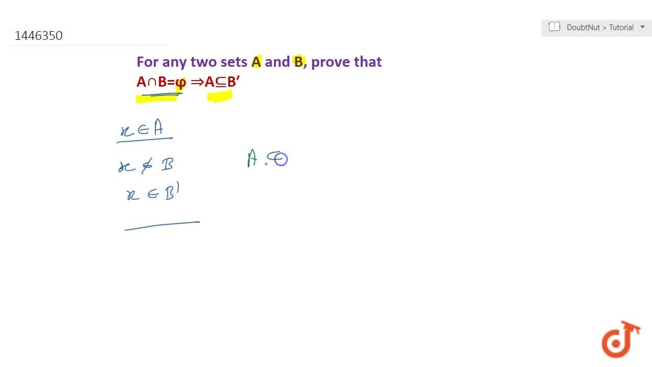 Solution for For any two sets A\ a n d\ B , prove that AnnB=