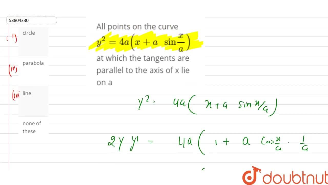 """Solution for All points on the curve y^(2)=4a(x+a"""" sin""""(x),(a)"""