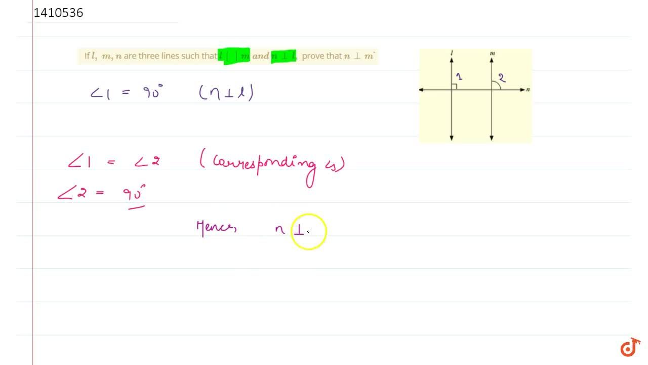Solution for If l ,\ m,\n are three lines such   that l    m
