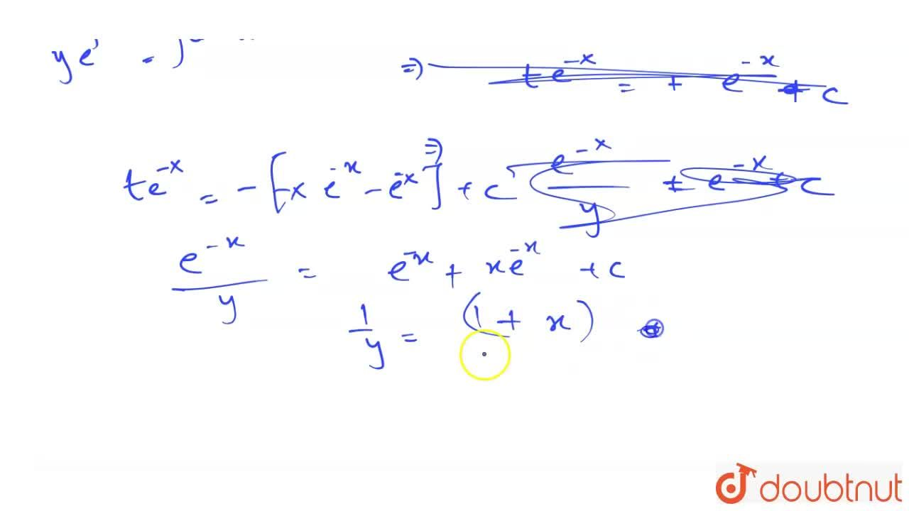 A curve passes through the point (0,1) and the gradient at (x,y) on it is y(xy-1). The equation of the curve is