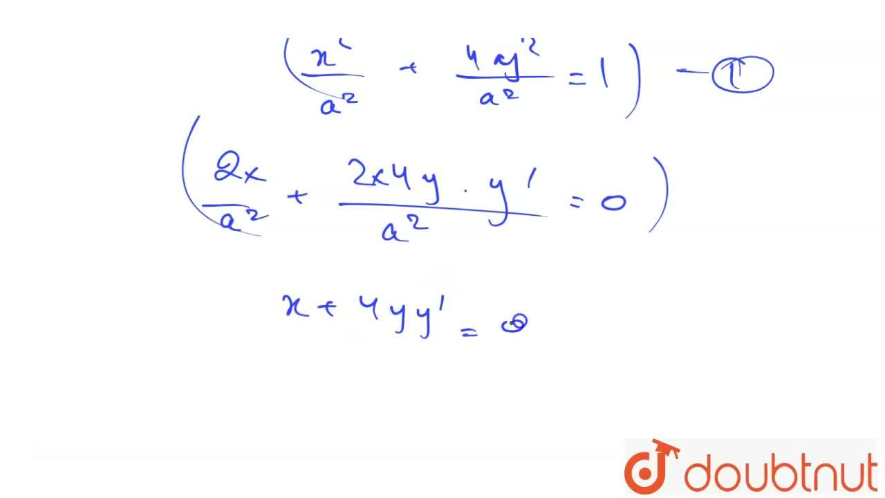 Solution for The differential equation of the family of ellipse