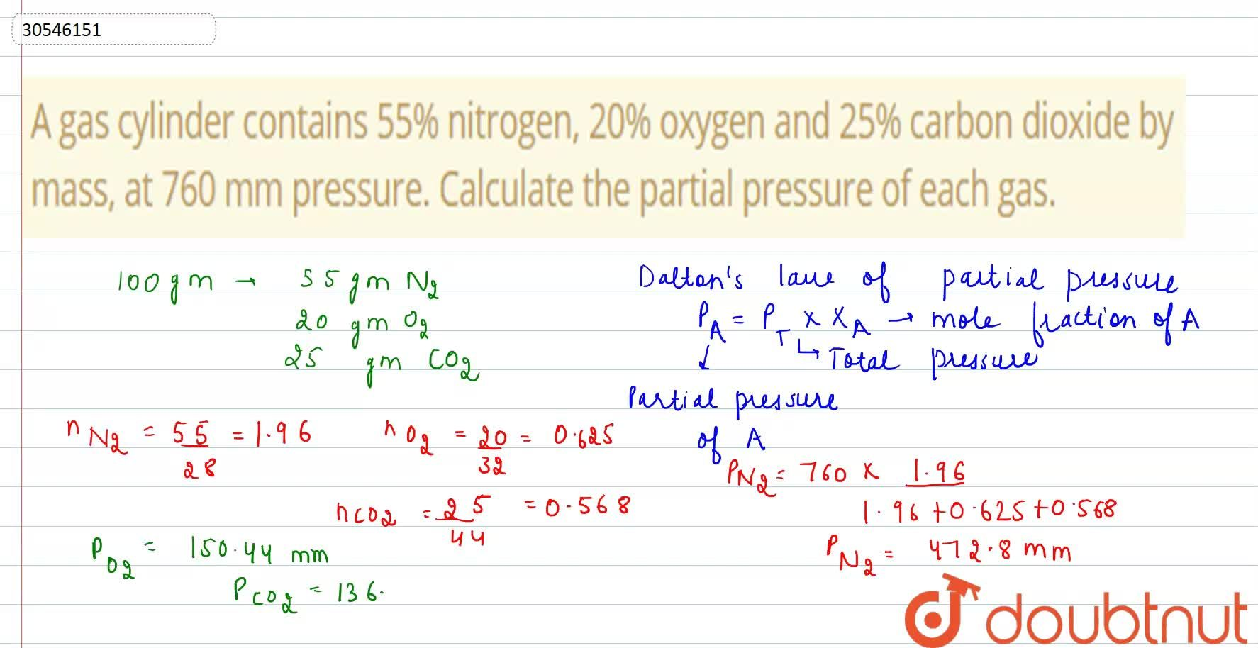 Solution for A gas cylinder contains 55% nitrogen, 20% oxygen a