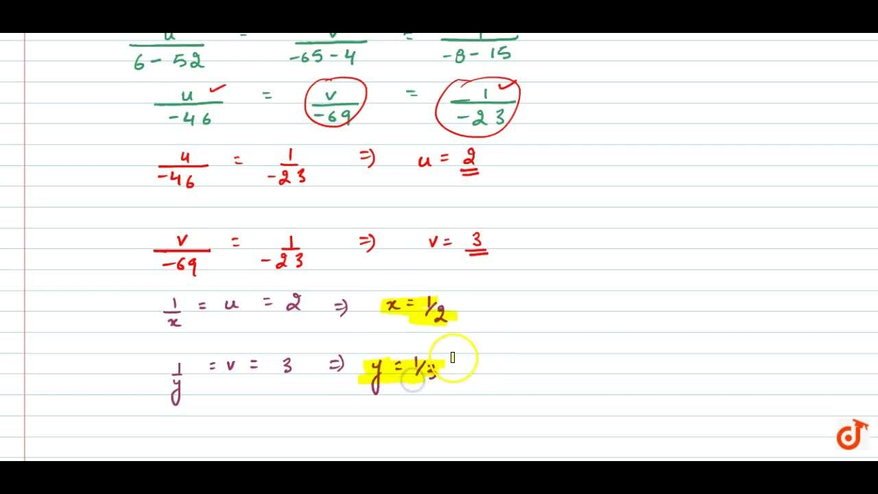 Solve the following   system of equations by method of cross-multiplication: 2,x+3,y=13 ,\ \ \ 5,x-4,y=-2 , where x!=0 and y!=0