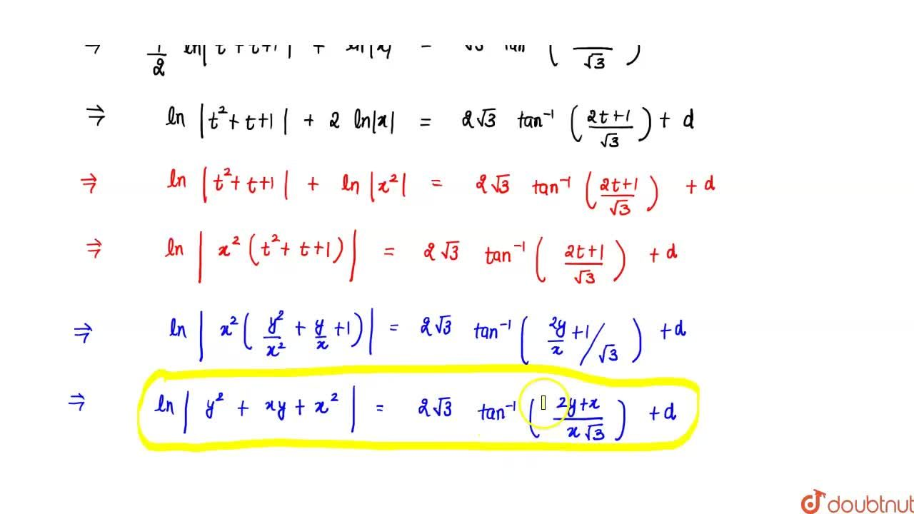 Solution for Show that the differential equation ((x-y)dy),(dx