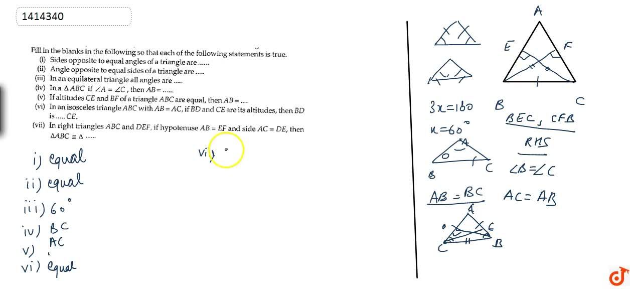 Solution for Fill in the blanks in   the following so that eac