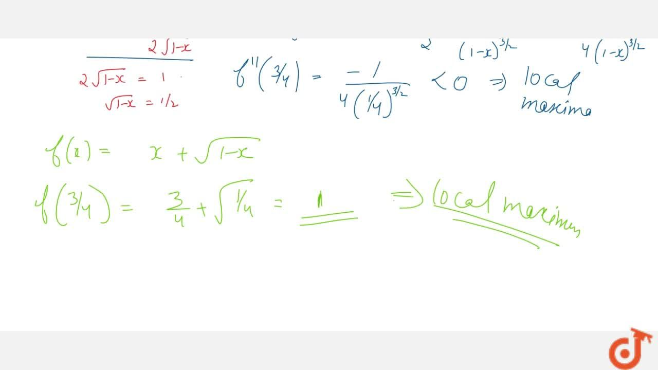Solution for Find the points of   local maxima or minima and c