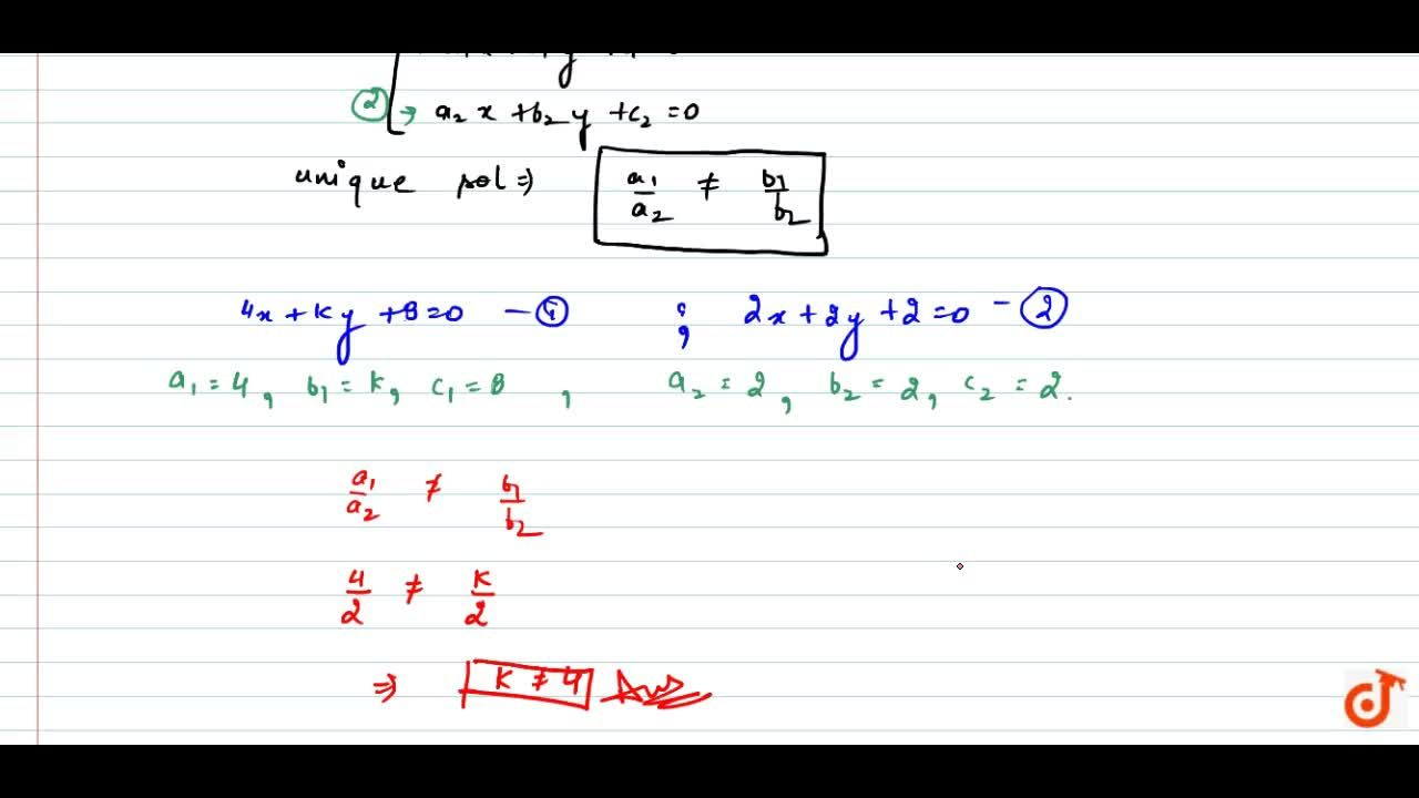 Solution for Find the value of k for which the following   s