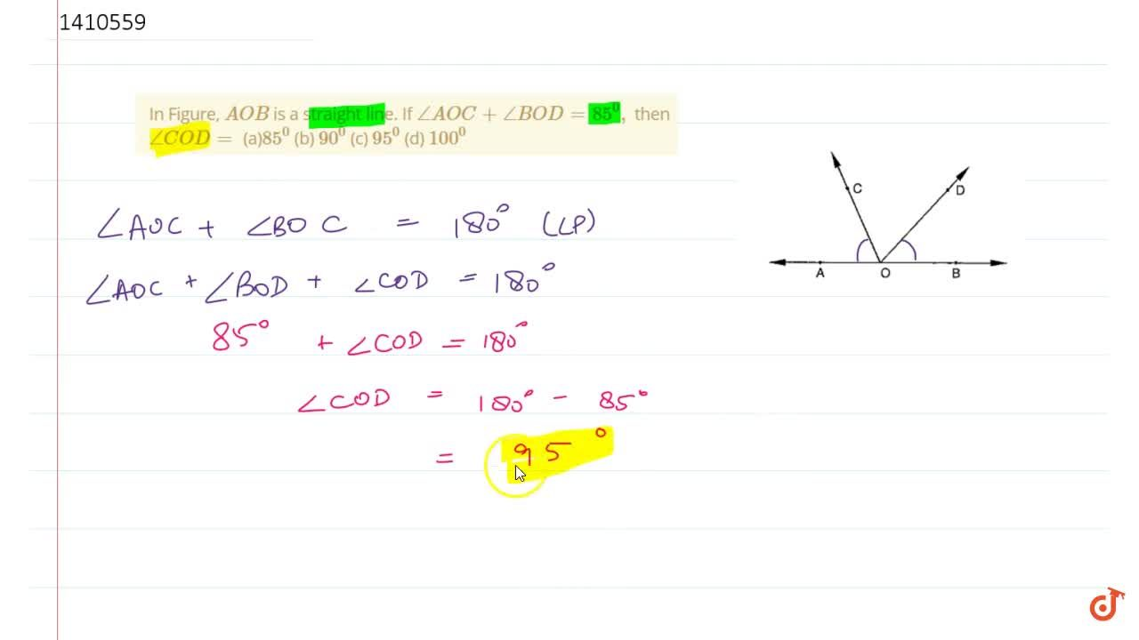 Solution for In Figure, A O B is a straight line. If ,_A O C
