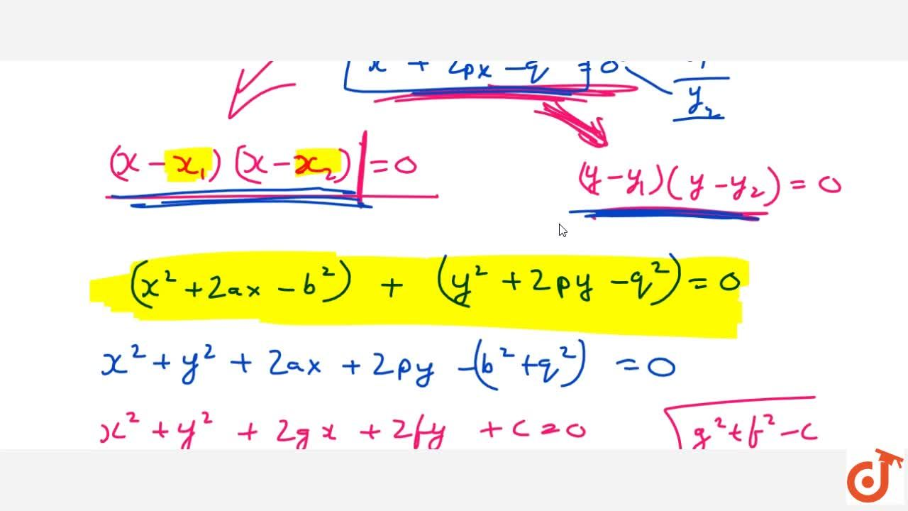 Solution for The abscissa of the two points A and B are the roo