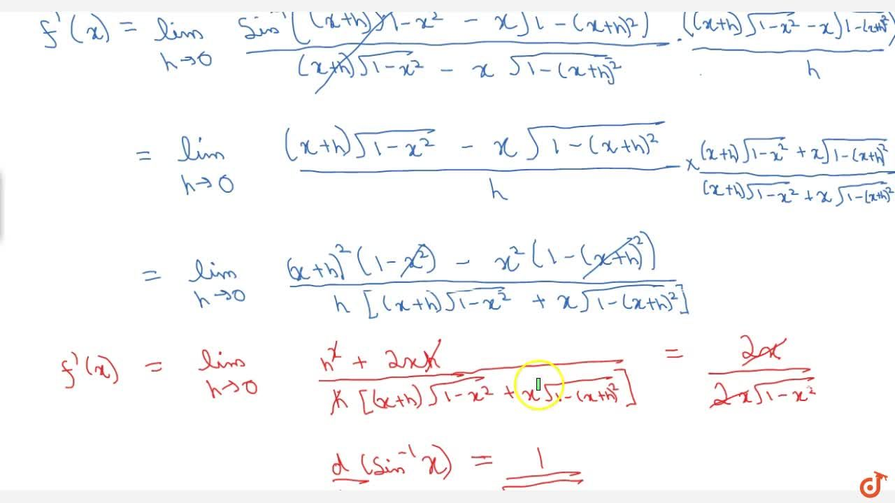 Solution for Find differentiation of arc sinx using first pri