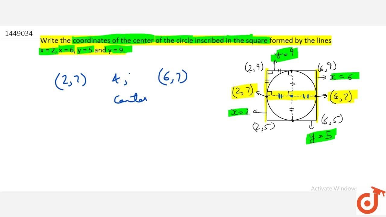 Write the coordinates of the center of the circle inscribed in the   square formed by the lines x=2,\ x=6,\ y=5\ and\ y=9.