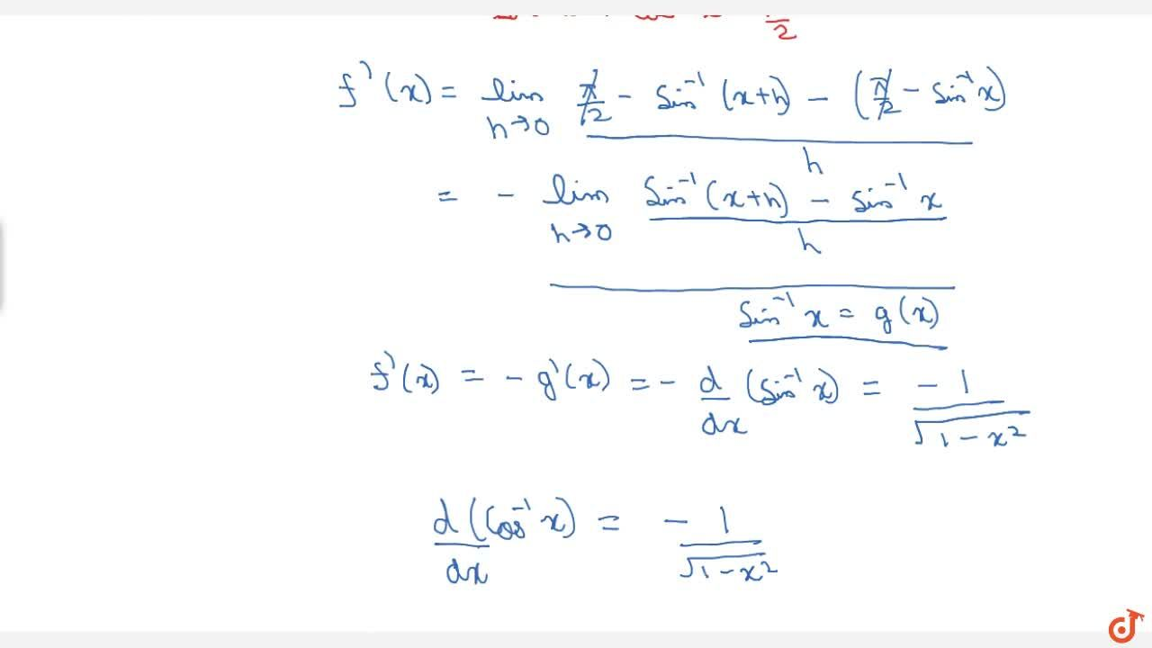 Find differentiation of arc cosx using first principle