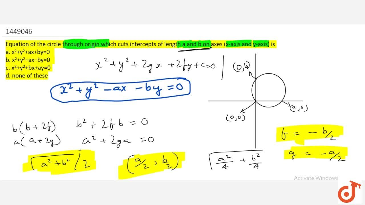 Solution for  Equation of the circle through origin which cuts