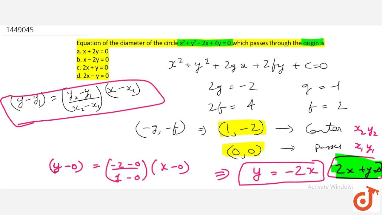 Solution for Equation of the diameter of the circle x^2+y^2-2x