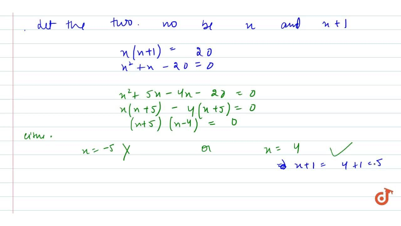 Find two consecutive   natural numbers whose product is 20.