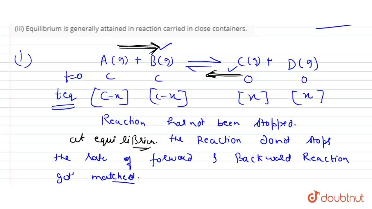 Solution for Explain the following : <br> (i)  A chemical equil