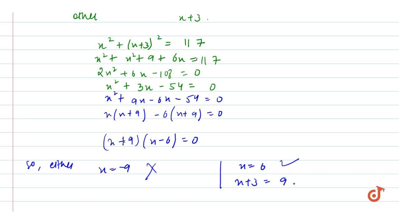 Find two natural   numbers which differ by 3 and whose squares have the sum 117.