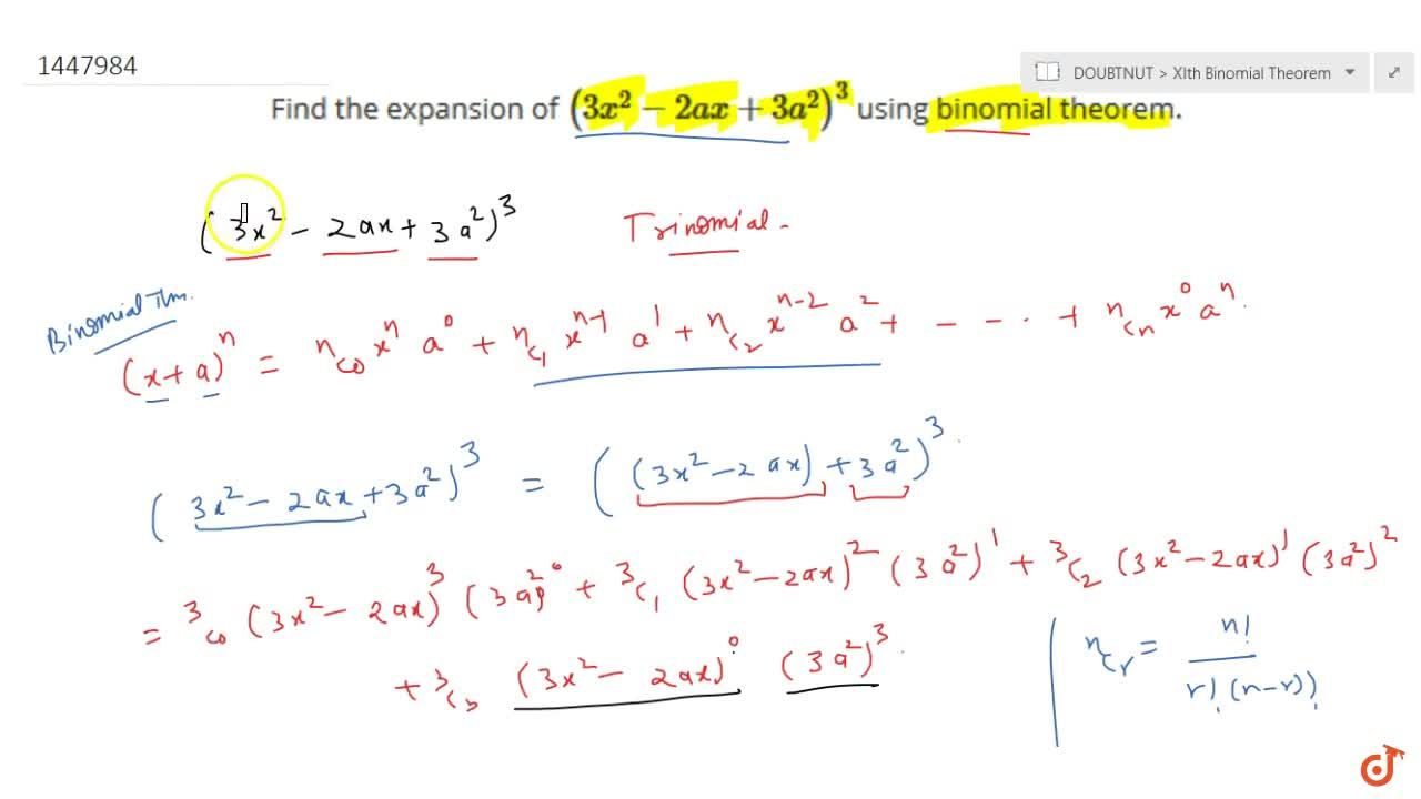 Solution for Find the expansion of (3x^2-2a x+3a^2)^3 using b