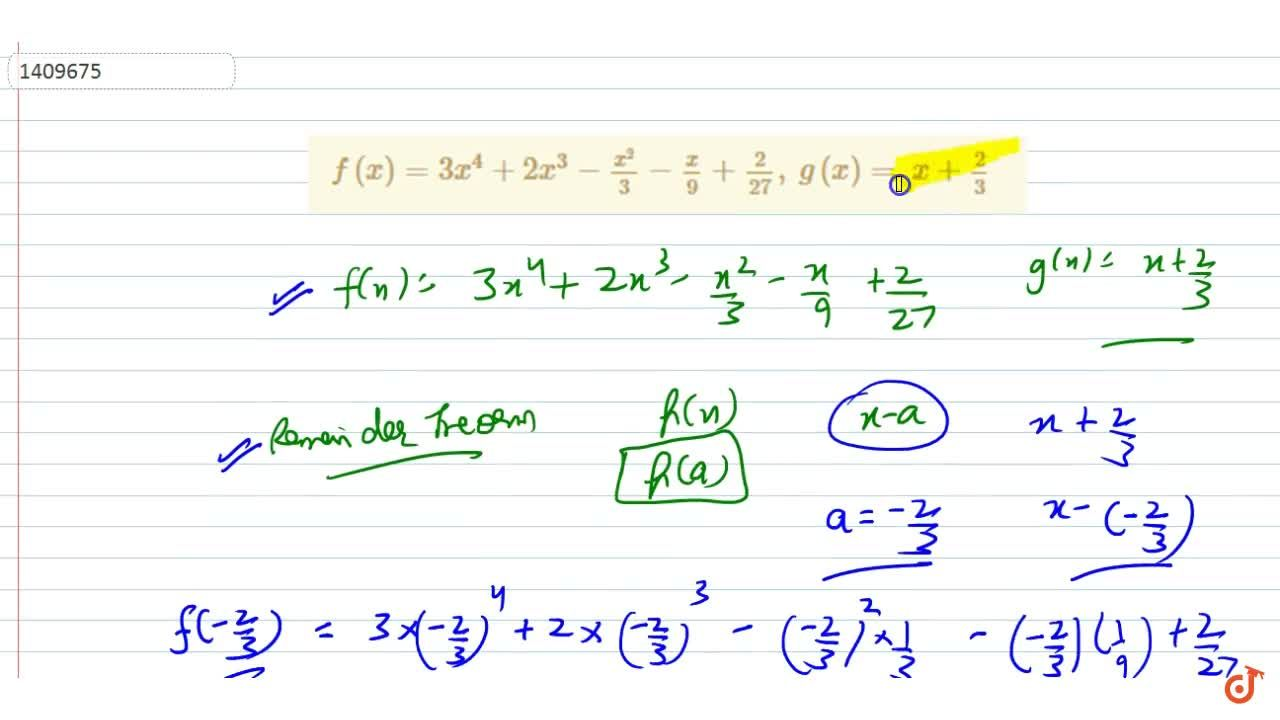 Solution for f(x)=3x^4+2x^3-(x^2),3-x,9+2,(27),\ g(x)=\ x+2,3