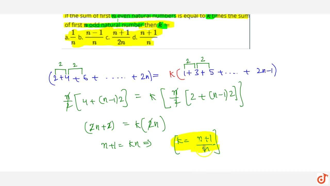 Solution for If the sum of first n even natural numbers is eq