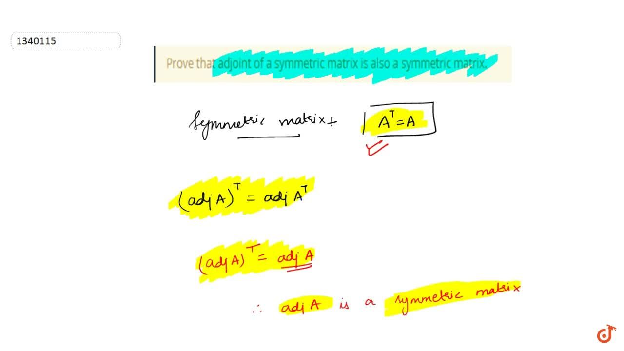 Solution for Prove that adjoint of a symmetric matrix is also a