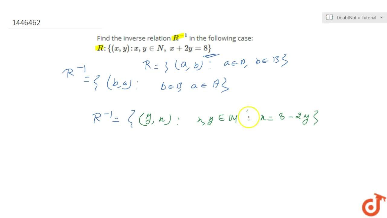 Solution for Find the inverse relation R^(-1) in the followin