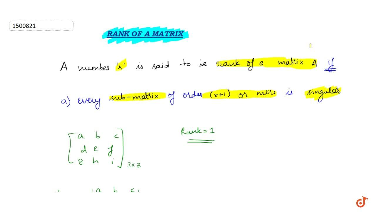 Solution for Rank of a Matrix