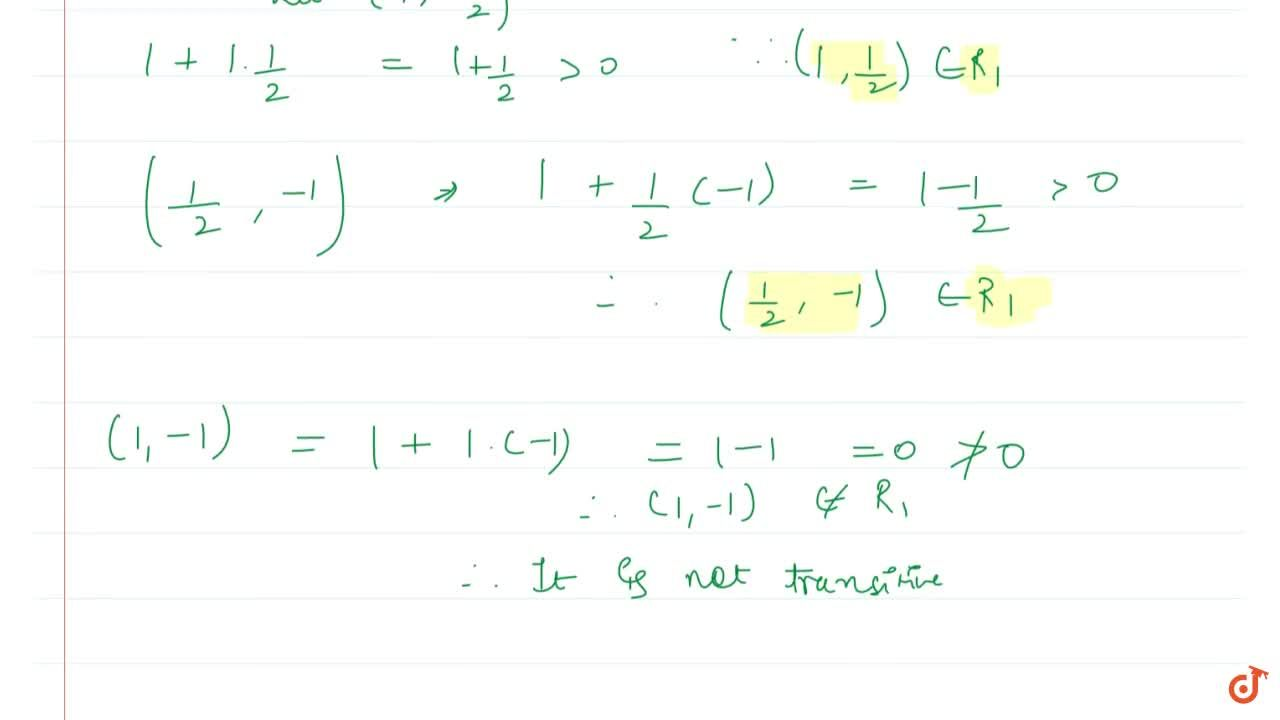 Solution for Let a relation R_1 on the set R of real number