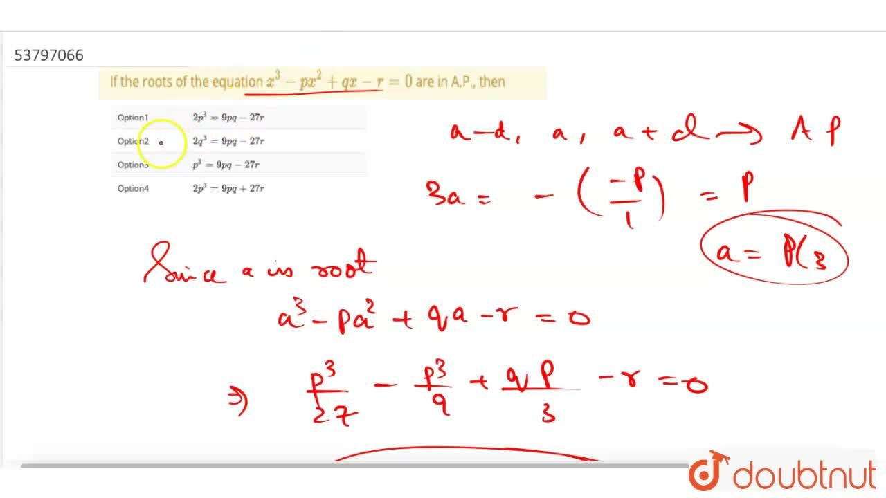If the roots of the equation x^(3) - px^(2) + qx - r = 0 are in A.P., then