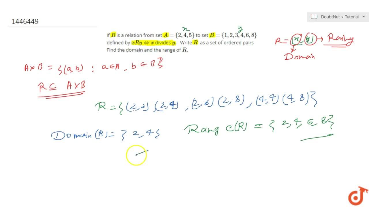 Solution for If R is a relation from set A={2,4,5} to set