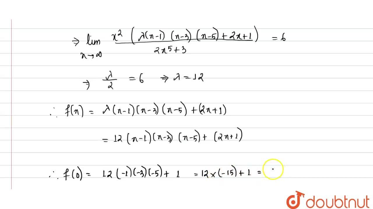 Solution for Let f(x) be a polynomial satisfying lim_(xtooo)