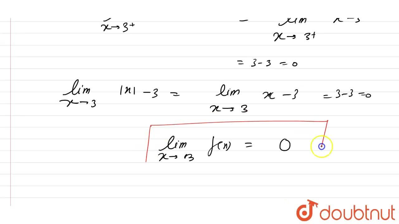 """Solution for If y(x)= x -3, """"find""""lim_(xrarr3)f(x)."""