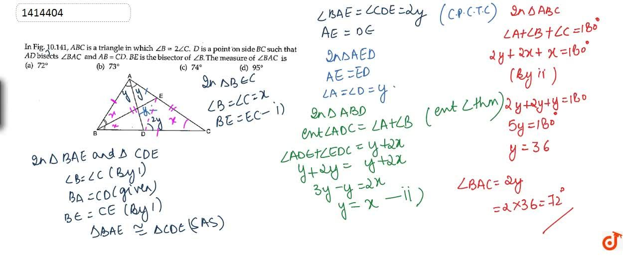 Solution for In Figure, A B C is a triangle in which ,_B=2,_