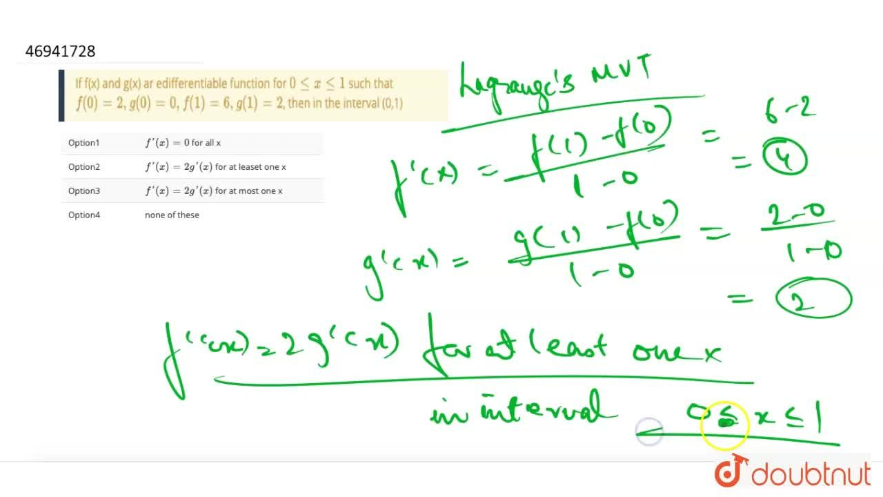 Solution for If f(x) and g(x) ar edifferentiable function for