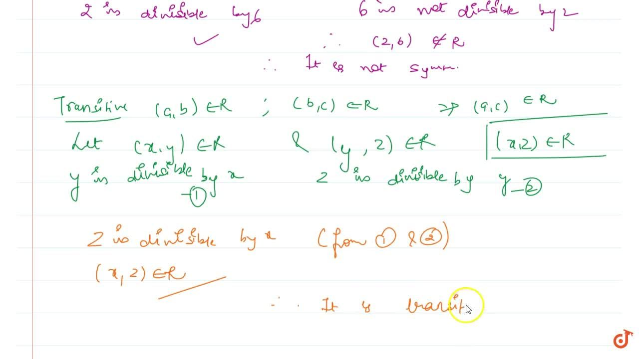 Solution for Determine whether Relation R on the set A={1,\