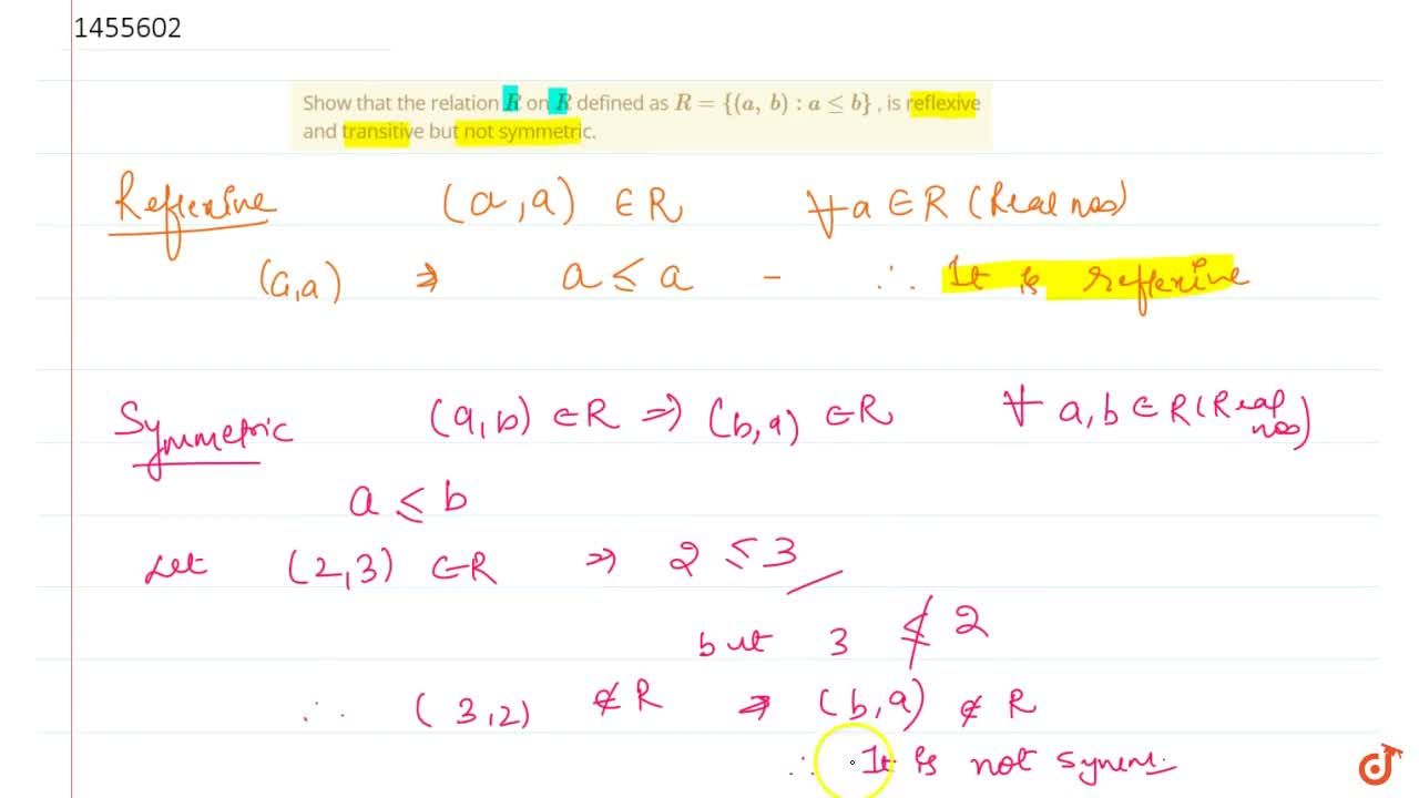 Solution for Show that the relation R on R defined as R={(