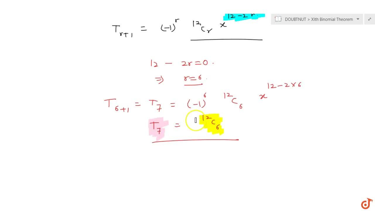 Find the term independent of x in the expansion of: (x-1,x)^(12) .