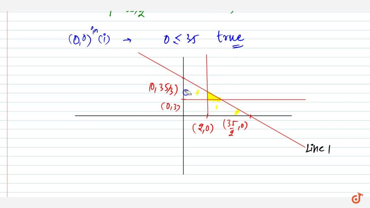 Solve the following system of linear inequation graphically: \ 2x+3ylt=35 ,\ ygeq3,\ xgeq2,\ xgeq0,\ ygeq0