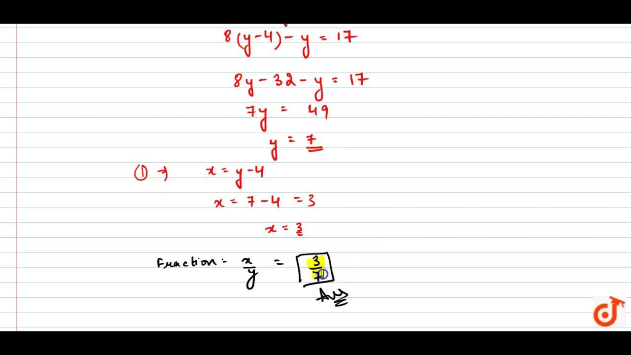 Solution for The numerator of a   fraction is 4 less than the