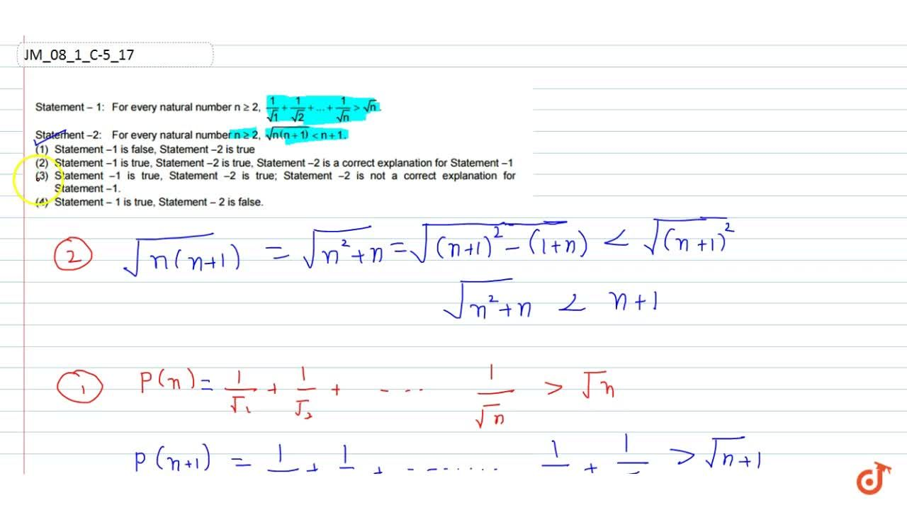 Solution for Statement  1: For every natural number ngeq2 ,