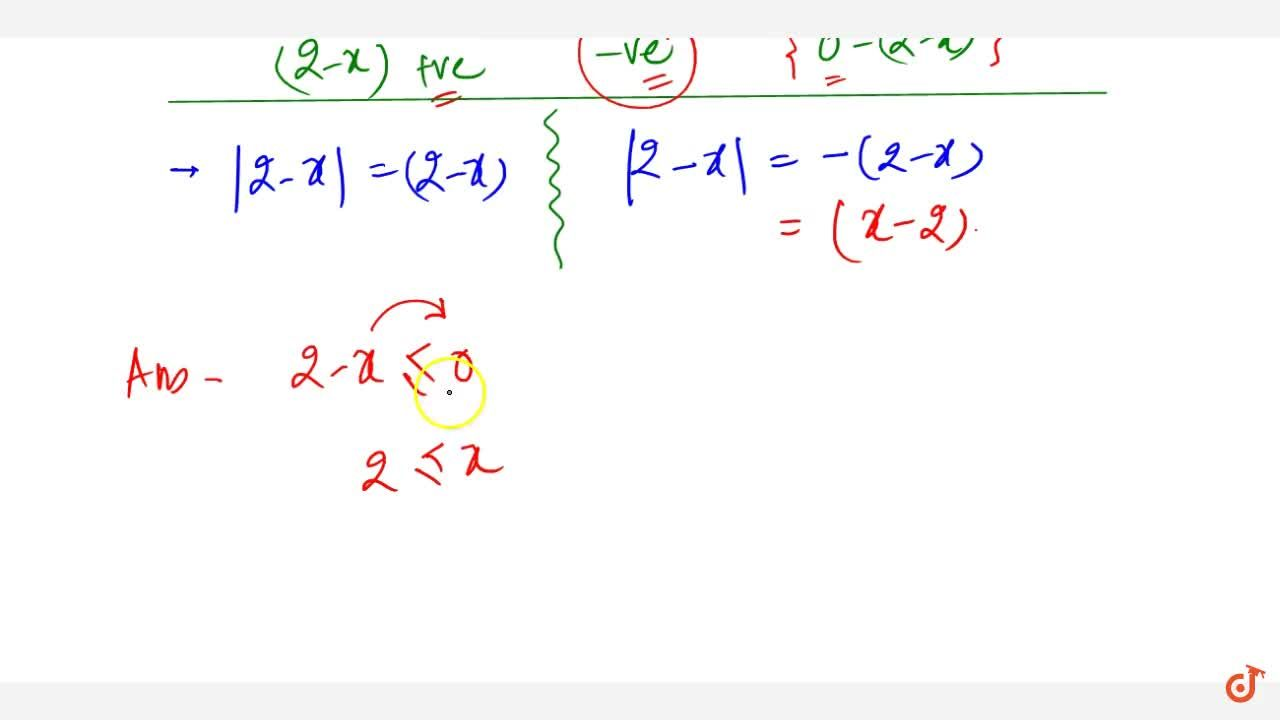 Solution for Write the solution set of the equation |2-x|=x-2.