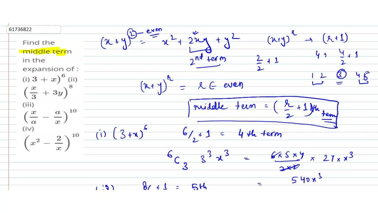 Solution for Find  the middle term in the expansion of : <br>
