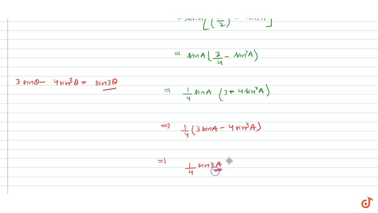 """Solution for Prove that: """"s i n A s i n""""(60-""""A"""")sin(60+""""A"""")=1,"""