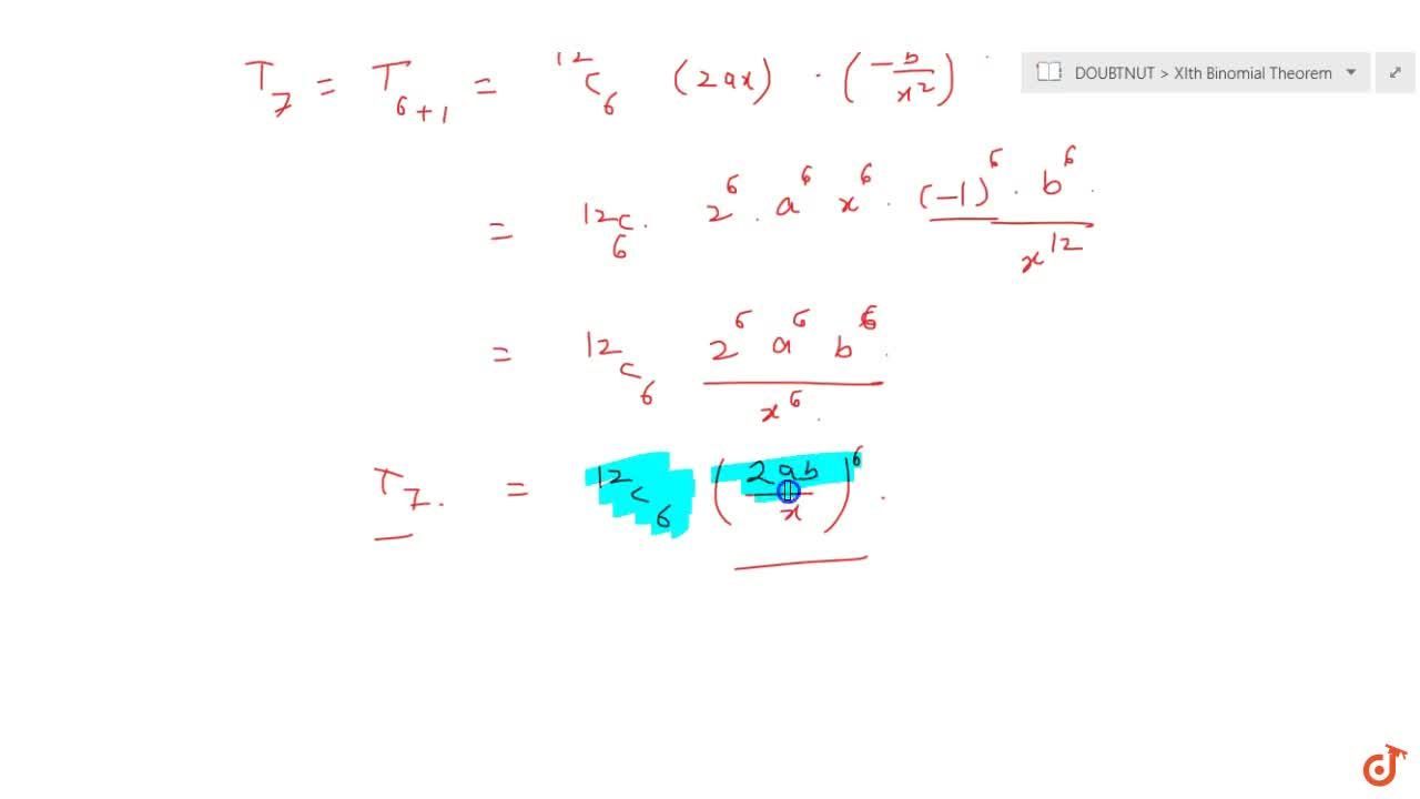 Solution for Find the middle term in the expansion of : (2a x-
