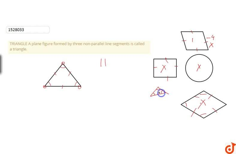 TRIANGLE A plane figure formed by three non-parallel line segments is called a triangle.